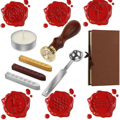 UK Initial Vintage Wax Badge Seal Stamp Wax Candle Set Kit Invitation Letter Box