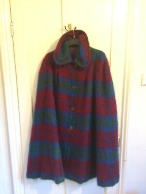 Vintage Long Cape cloak Mohair Wool Blue & Red Size 12.