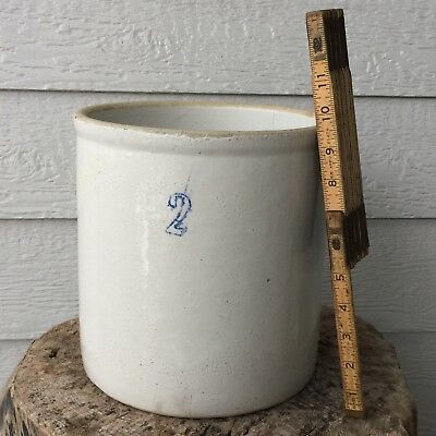 Antique Cobalt Blue 2 Gallon Marked Salt Glaze Stoneware Crock - EXCELLENT COND.