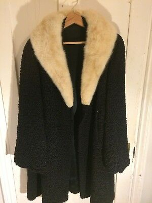Vintage Black Wool Full Length Fitted Coat With Real Fur Collar