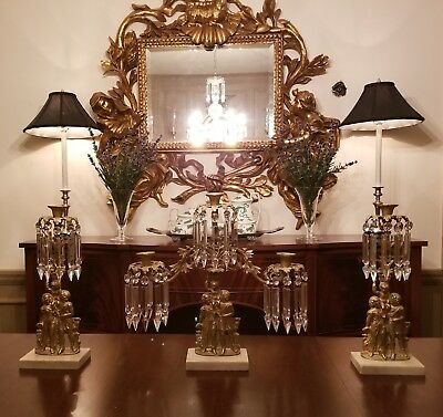 Antique Bronze & Glass Belle Epoque Style Girandole Candelabras 3 Piece Set