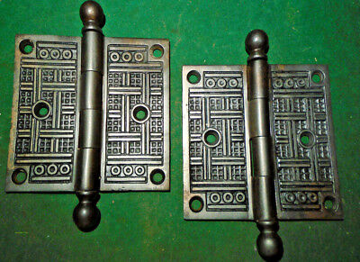 "Pair Vintage Eastlake Hinges  3 1/2""  X 3 1/2""  Cannon Ball Unusual (9902)"