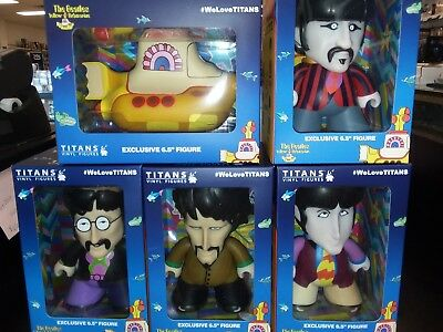 "The Beatles YELLOW SUBMARINE 6.5"" Vinyl Figure COMPLETE 5 PIECE SET ~ Titans"