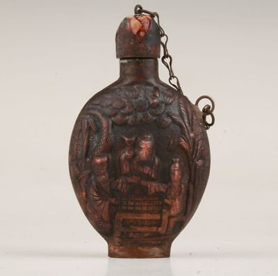 China Rare Copper Hand Carving Old Man Statue Snuff Bottle Sealed Portable