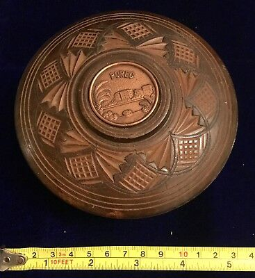 Original Vintage Gothic Hand Carved Wooden Bowl with Lid with metal Plaque POREC