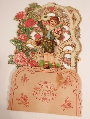 Antique Germany Pop Up Fold Down Die-Cut Valentines Card Victorian Girl Roses