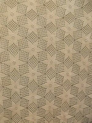 Lovely Vintage Hand Made Crocheted Ecru Cotton Star Tablecloth Bedspread 88x101