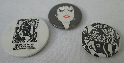 Siouxsie And The Banshees 3 X Vintage 1980s Goth punk Badges Pins Buttons