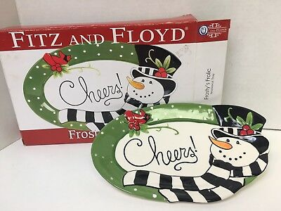 """FITZ AND FLOYD """"Frosty's Frolic"""" Sentiment Tray"""