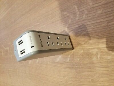 Belkin 3-Outlet Mini Travel Swivel Surge Protector with Dual USB Ports
