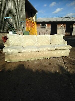 Sage Green Antique 4 Seater Settee Sofa Needing Refurbishment / Reupholstering
