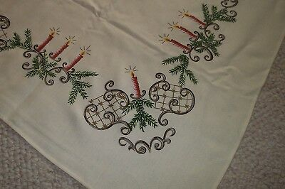Vintage CHRISTMAS TABLECLOTH Rectangle CANDLES Boughs RETRO MUST C