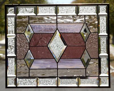 "•  Dimonds and Champagne •20 3/8"" x 16 3/8"" Beveled Stained Glass Window Panel"
