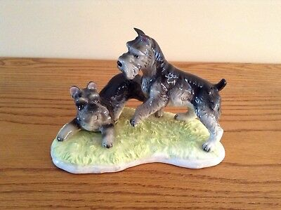Vintage Schnauzer Porcelain Figurine Two Dogs Playing; High Gloss; Japan?