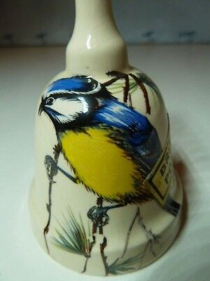 BRIXHAM POTTERY Earthenware DevonWare Ornamental Hand Bell~NUTHATCH/BLUETIT~10cm