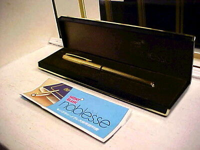 Retro Montblanc Noblesse Gold Fountain Pen W 14K Gold Nib And Box