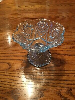 Antique ABP Cut Glass Blue Crystal Stem Footed Candy Dish Sweets Compote Bowl