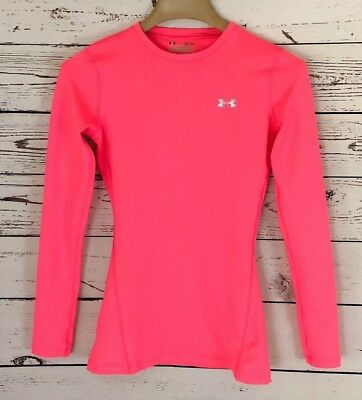 Womens Under Armour Cold Gear Compression Top Long Sleeve Pink Size Xs Nwot