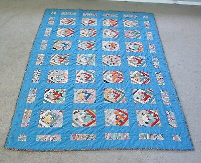 """Antique 1920's Hand Pieced Log Cabin Pattern Tied Knotted Quilt 54"""" by 86"""""""