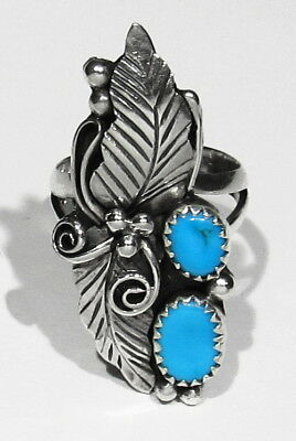 Big Long Vintage Signed Vernon Begay 925 Silver Sleeping Beauty Turquoise Ring 7
