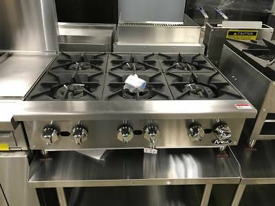 "New 36"" Hd 6 Burner Heavy Duty Commercial Countertop Gas Hot Plate Nat/lp Gas"