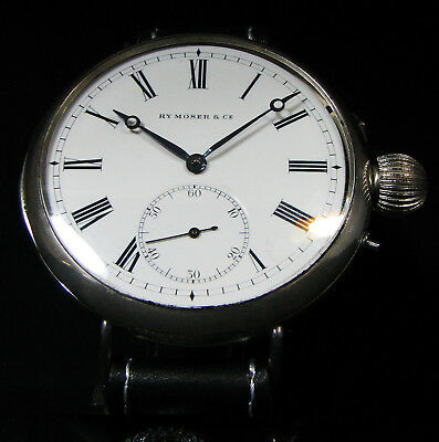 HENRY MOSER Schaffhausen Antique Sterling Silver Watch Porcelain Dial