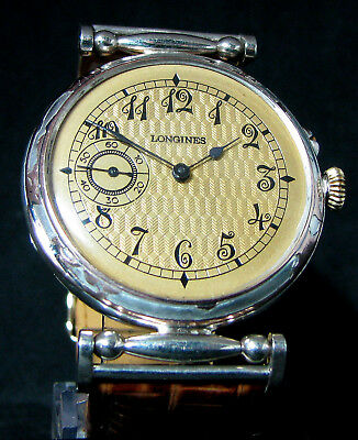 LONGINES Antique 1910 Sterling Silver Wristwatch CASE W MEDALS