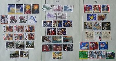 Lot of Great Britain Year 1991 to 1999 Stamps Used