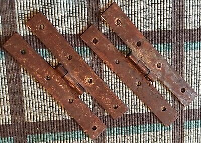 "Very *nice Pair Of Early 18Th. Century 6"" Handwrought Cupboard Door ""h"" Hinges"