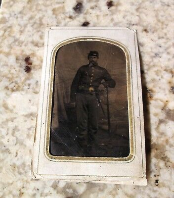Tintype of Civil War Soldier (Union with Rifle & Bayonet