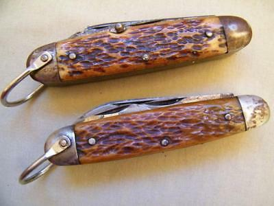 2 Vintage Pocket Knife Bone Handle Multi Tool Utility Camping Boy Scout