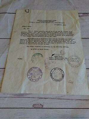 American Expeditionary Force Transportation Service Leave Of Absence 1918 signed