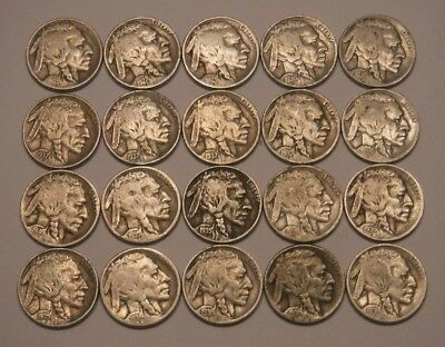 Half Roll of FULL DATE Buffalo Nickels.  A Few Earlier Dates!
