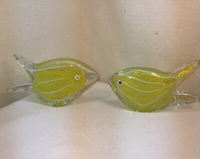 Vtg 2pc Blown Yellow Clear Glass Fish Paperweight Figurines Controlled Bubbles