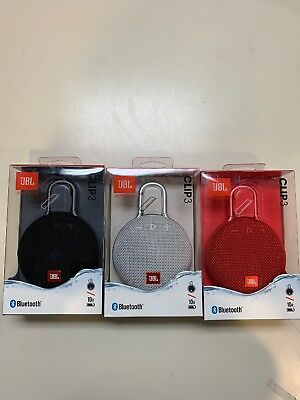 JBL Clip 3 Waterproof Bluetooth Wireless Speaker - Black/White/Red