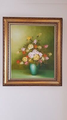 Large Framed Oil Painting Canvas Variety of Flowers in a Vase signed Fields VGC