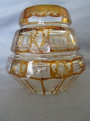 Antique 19th c. Bohemian Cut to Clear Crystal Glass Vase c. 1860