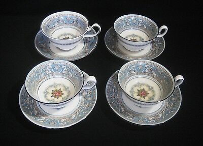 WEDGWOOD  Bone China  FLORENTINE TURQUOISE W2714  4- CUPS & SAUCERS SETS