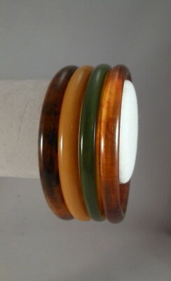 Vintage Four BAKELITE Yellow-Green-Rootbeer-Mud Marbled Bangle Bracelets Tested