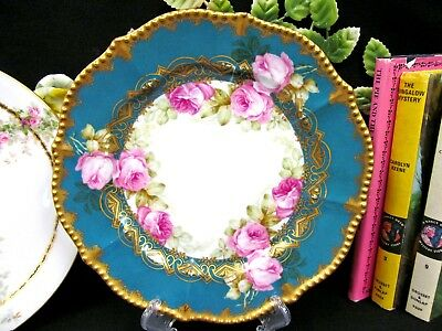 LIMOGES FRANCE painted pink cabbage roses plate gold gilt trims and filigree