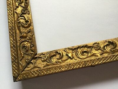 """Antique 19th C Small Ornate Gold Gilt Wooden Picture Frame - 7"""" x 10 1/4"""" Rabbet"""