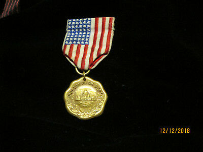 Rare Antique  Boston Park Department Solid Brass Pin  With Silk Flag Ribbon