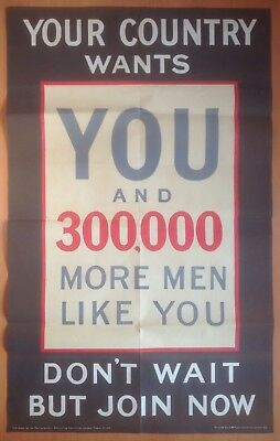 """ORIGINAL WWI BRITISH ARMY RECRUITING POSTER: """"YOUR COUNTRY WANTS YOU"""" (39x24"""")"""