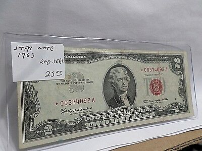 1963 US 2 Two Dollar, *STAR NOTE* US Note, Red Seal