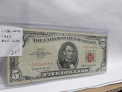 1963 US 5 Five Dollar, *STAR NOTE* US Note, Red Seal