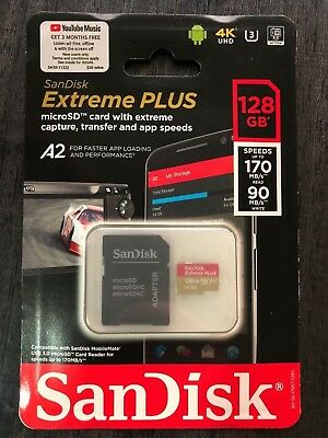 SanDisk Extreme PLUS A2 128GB microSDXC UHS-I Memory Card with Adapter 4k UHD