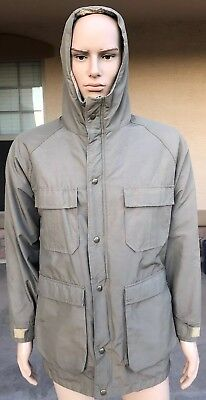 Vintage Woolrich Full Zip Button Down Hoodie Barn Coat Jacket USA Made Small