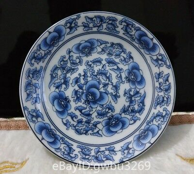Marks Chinese Blue and white porcelain Painting Flower theme Plate