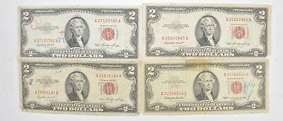 Lot (4) Red Seal $2.00 US 1953 or 1963 Notes - Currency Collection *460
