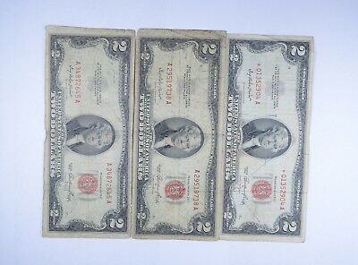 Lot (3) Red Seal $2.00 US 1953 or 1963 Notes - Currency Collection *084